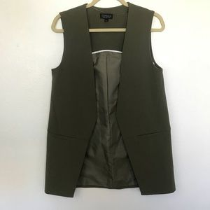 TopShop Olive Green Career Vest Long Sz 4 Q